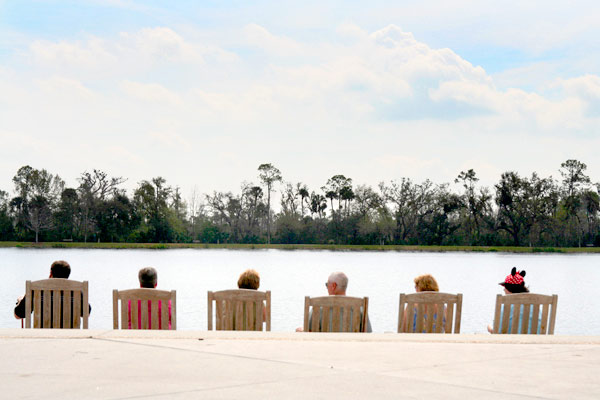 The cult of Mickey by Celebration's man- made lake. Photo by Karoline Hjorth